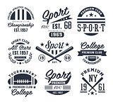 Monochrome Sport Emblems, Labels, Badges, Logos Vector Illustration Set