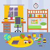 Kid Bedroom. Vector Illustration