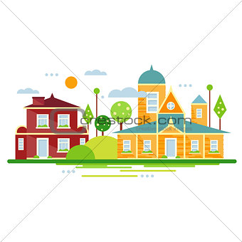 City Landscape Background. Vector Illustration