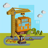 Construction of Building. Vector Illustration in Flat Style