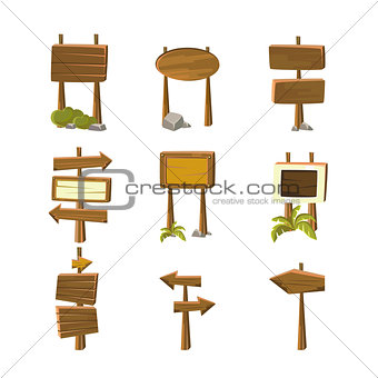 Cartoon Wood Banners Vector Illustrations