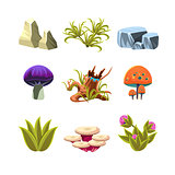 Cartoon Mushrooms, Stones, and Bushes Set Vector Illustration
