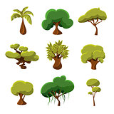 Cartoon Trees, Leaves and Bushes Set Vector Illustration