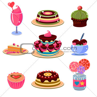 Bright Dessert Icons Set Vector Illustration