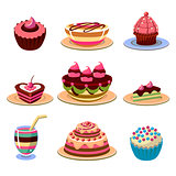 Bright Cakes and Dessert Icons Set Vector Illustration