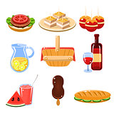 French Food Icons Set