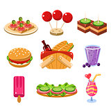 French Picnic Food Icons Set