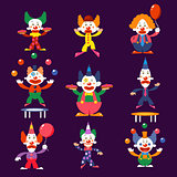Cartoon Clowns Vector Illustration Set