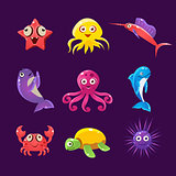 Baby Sea Creatures, Vector Illustration Set