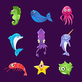 Colourful Sea Creatures, Vector Illustration Set