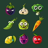 Funny Vegetable and Fruit, Vector Illustration Set in Flat Style