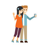 Boy and Girl Making a Selfie Vector Illustration