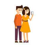 Girl and Boy Making a Selfie Vector Illustration