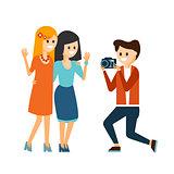 Girls Taking Photo Vector Illustration