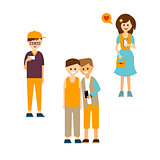 Young People Communicating with Devices Vector Illustration Set
