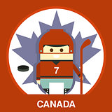 Canadian in Hockey Uniform Vector Illustration