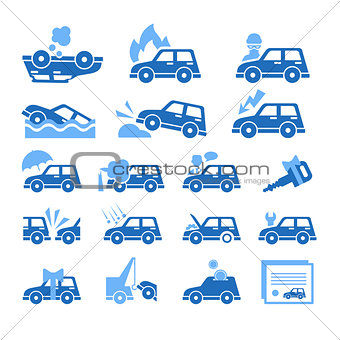 Car Insurance Icons Set. Vector Illustration in Flat Style