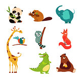 Cute Wild Animal Set of Vector Illustration