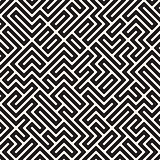Vector Seamless Black and White Maze Lines Pattern