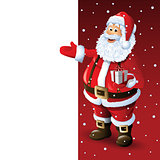 Santa Claus Cartoon Character Showing Merry Christmas Tittle Written in Blank Space. Vector Illustration