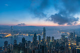 Famed skyline of Hong Kong from Victoria Peak in a foggy morning