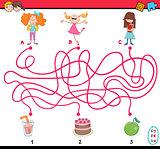 game of path maze cartoon
