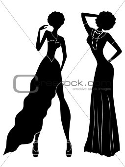Attractive ladies silhouettes