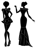 Ladies in short and long dresses stencil silhouettes