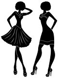 Fashion models in short modern dresses stencil silhouettes