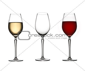 Three wine  glasses on white isolated background