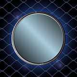 Blue metallic border over black cage