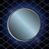 Blue metallic border over black cage