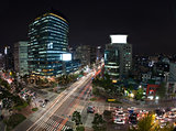 Traffic on night busy Seoul streets, South Korea