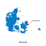 Detailed vector map of Denmark and capital city Copenhagen