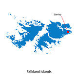 Detailed vector map of Falkland Islands and capital city Stanley