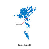 Detailed vector map of Faroe Islands and capital city Torshavn