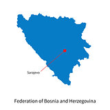 Map Federation of Bosnia and Herzegovina with capital city Sarajevo