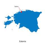 Detailed vector map of Estonia and capital city Tallinn