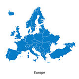 Detailed vector Europe Political map with borders