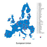 Detailed vector map of European Union and Europe countries