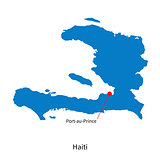 Vector map of Haiti and capital city Port-au-Prince