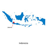 Detailed vector map of Indonesia and capital city Jakarta