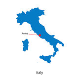 Detailed vector map of Italy and capital city Rome