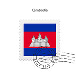 Cambodia Flag Postage Stamp.