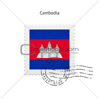 Cambodia Flag Postage Stamp.