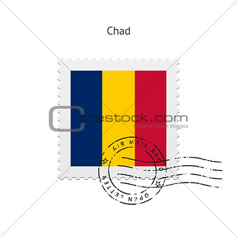 Chad Flag Postage Stamp.