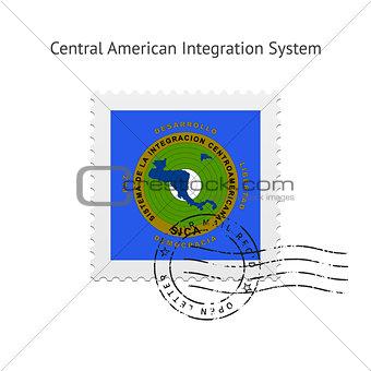 Central American Integration System Flag Postage Stamp.