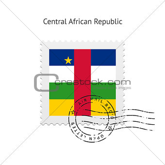 Central African Republic Flag Postage Stamp.