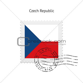 Czech Republic Flag Postage Stamp.