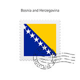 Bosnia and Herzegovina Flag Postage Stamp.